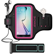 Galaxy S7 Edge/S8 Armband, JEMACHE Gym Sports Run Workout Arm Band for Samsung Galaxy S8/S7 Edge with Extender - Running Jogging Exercise Key/Card Holder (Rosy)