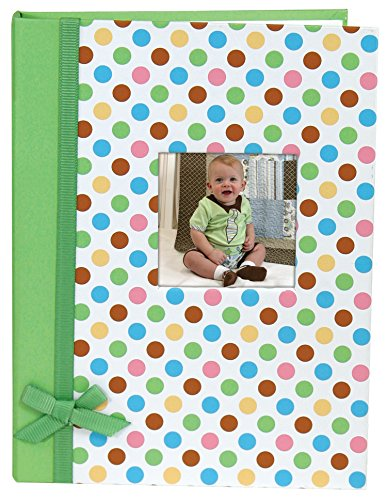 Stephan Baby Keepsake Mini-Dot Photo Brag Book with Ribbon Embellishment, Green