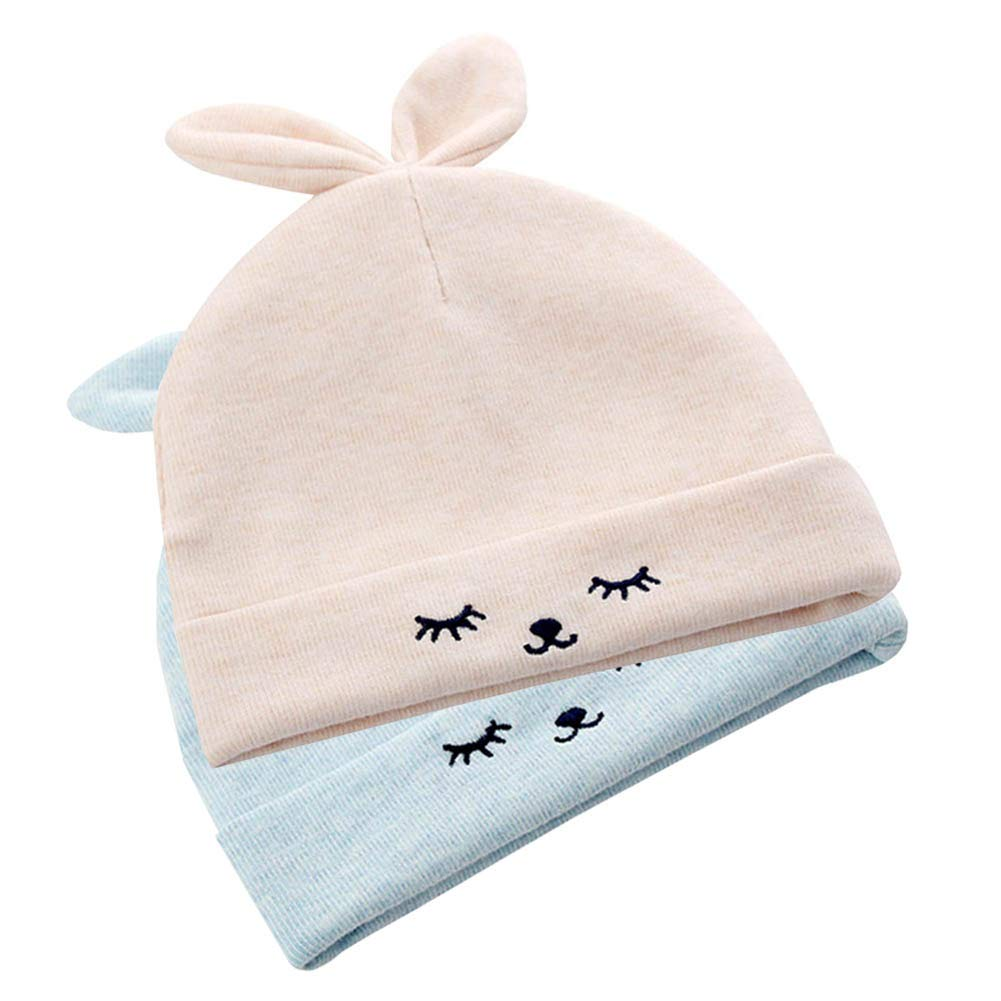 Pack of 2 Digirlsor Infant Newborn Baby Unisex Cotton Hat Toddler Knitting Cap Baby 0-6 Months