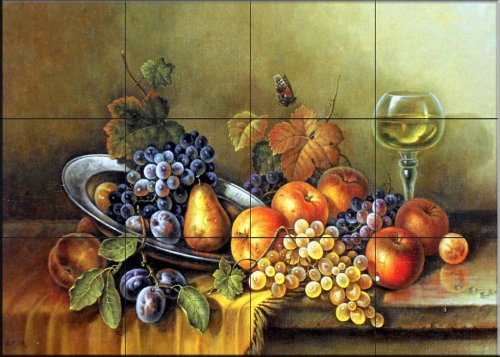 Fine Art Ceramic Tile (Ceramic Tile Mural - Antique Still Life I - by Corrado Pila - Kitchen backsplash / Bathroom shower)