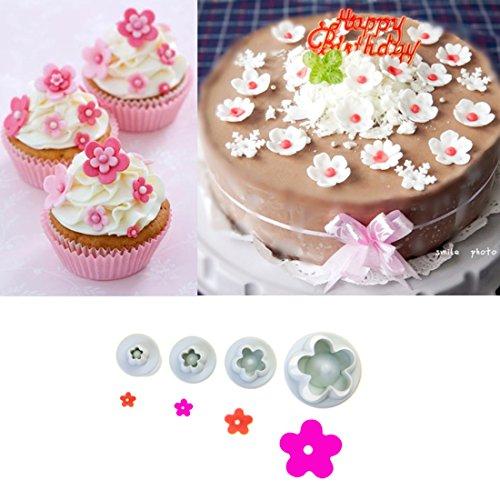Daisy Flower Cookie Plunger Cutter Sunflower Plunger Cutter Sugarcraft Fondant Cake Plunger Tool 4Pcs/Set
