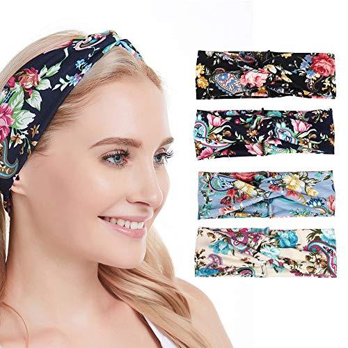 Faraone4w Frauen Stirnband Blume Stirnband elastisch breiter Rand Haar waschen Kreuz Stirnband Boho Floal Stil Criss Cross Head Wrap Haarband