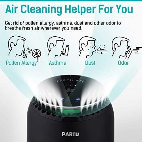 PARTU Purificateur d'air avec Réel Filtre HEPA 99.97% Filtration, Ultra Silencieux 24-48dB Capturer Pollen, Fumée, Poussière, Poils d'animaux, avec Sept Couleurs de Veilleuse Apaisante