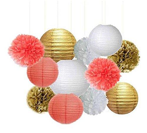 12pcs Mixed Gold Coral Party Tissue Pom Poms Paper Lantern - Coral Party Decor, Coral Wedding Decor, Coral Bridal Shower Decor, Coral Nursery, Coral Baby Shower and Coral Wedding Decor