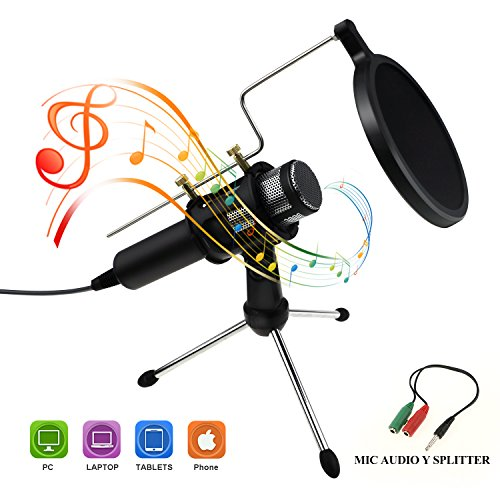 Philonext Condenser Microphone, Portable Mini Condenser Microphone, 3.5mm Plug & Play Home Studio Vocal Recording Microphone with Tripod Stand for PC Laptop Tablet and Phone