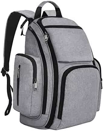 Mancro Diaper Bag Backpack, Organizer Baby Back Pack for Mom/Dad with Stroller Straps, Changing Pad & Insulated Pockets, Water Resistant Anti-theft Travel Bags for Boys/Girls Care in Grey