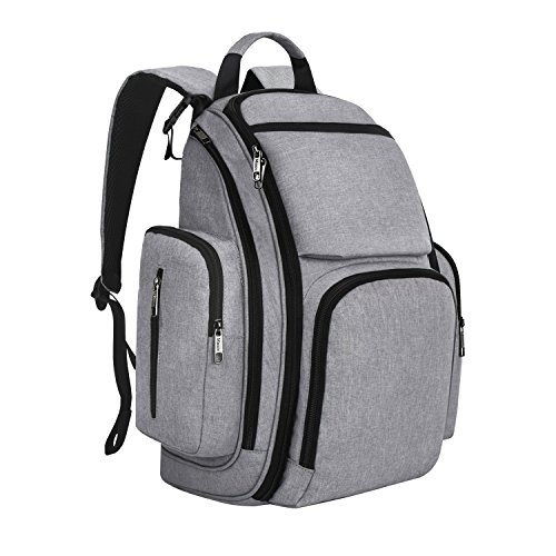 Mancro Diaper Bag Backpack, Organizer Baby Back Pack for Mom/Dad with Stroller Straps, Changing Pad & Insulated Pockets, Water Resistant Anti-theft Travel Bags for Boys/Girls Care in Grey (Stroller Back)