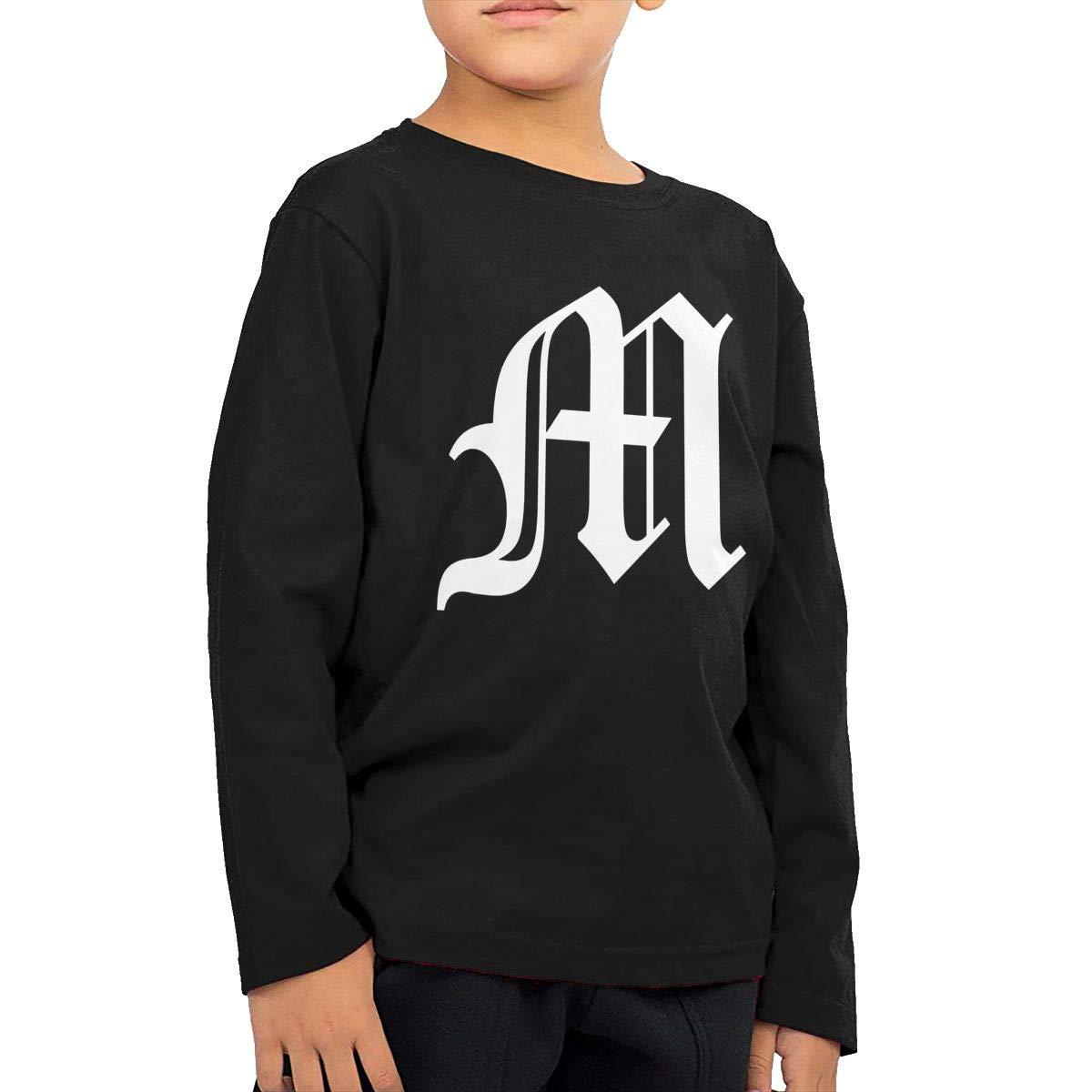 HADYKIDSLOVE Old English Letter M Initial Kids T-Shirt Long Sleeve Boys Girls T-Shirt