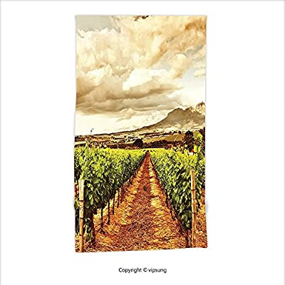 Vipsung Microfiber Ultra Soft Hand Towel-Farm House Decor Collection Grape Valley Clouds Over Vineyard Natural Fruit Plantation In Autumn Garden Theme Green Brown For Hotel Spa Beach Pool Bath