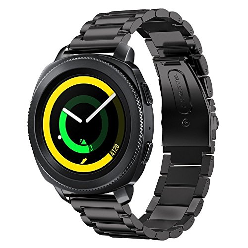 Samsung Gear Sport Watch Band , 20mm Stainless Steel Band + Milanese Loop Mesh Stainless Steel Metal Business Replacement Bracelet Strap for Samsung Gear Sport Smart Watch (2 black.) Photo #6