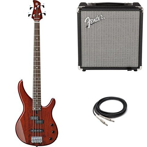 Vintage Yamaha Amps (Yamaha TRBX174EW RTB 4-String Electric Bass Guitar with Exotic Wood Top with Fender Amp and Cable)