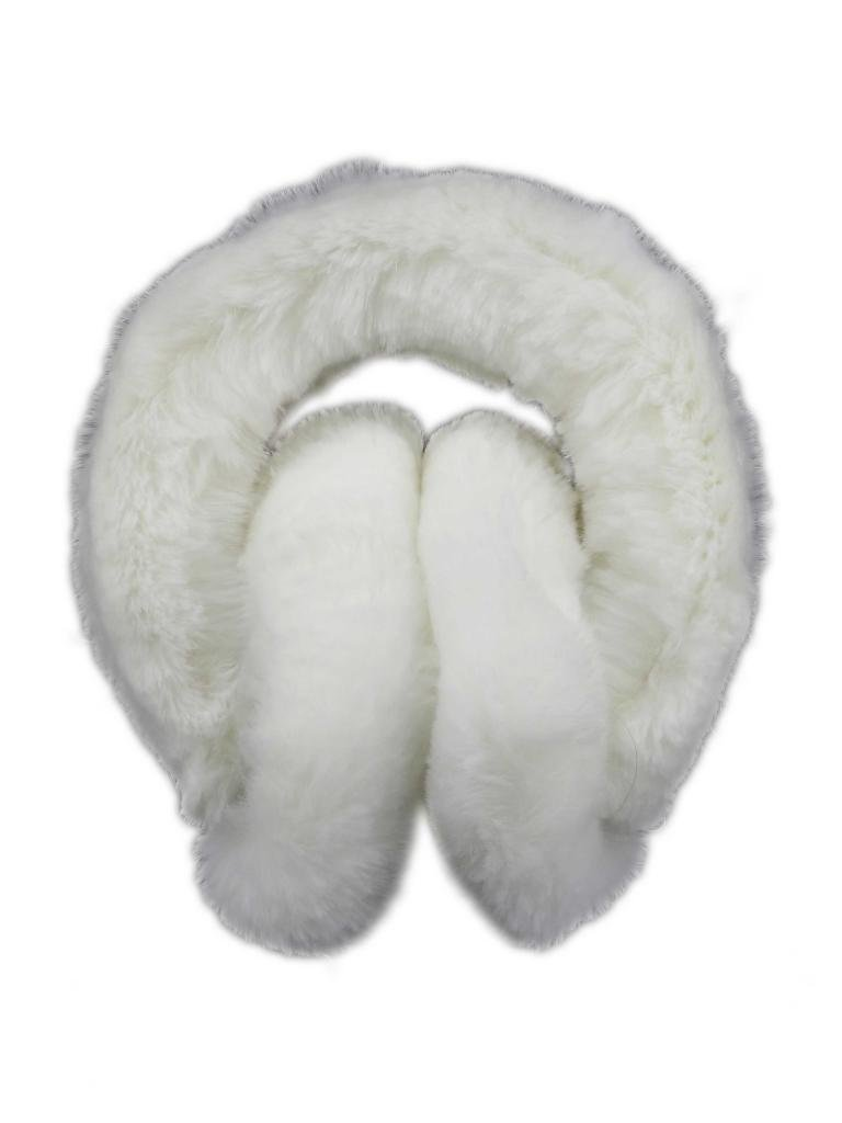 Fur Winter Folding Genuine Rex Rabbit Fur Earmuffs Warmers with Fur Band BLK