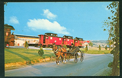 (Amish Country Buggy Red Caboose Hotel Strasburg PA Railroad Train Postcard)