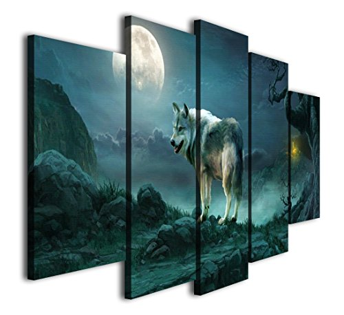 HQ Art 5 Panels Wolf on Moon night Painting Printed on Canvas Wall Art Picture for Home Décor, Contemporary Artwork, Split Canvases , (12x20inchx2pcs, 12x28inchx2pcs, 12x32inchx1pc, With Framed) ()