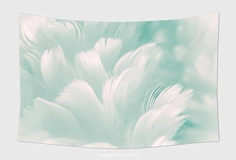 Home Decor Arazzo Da Parete Bianco Fluffy Feather Closeup Tiffany