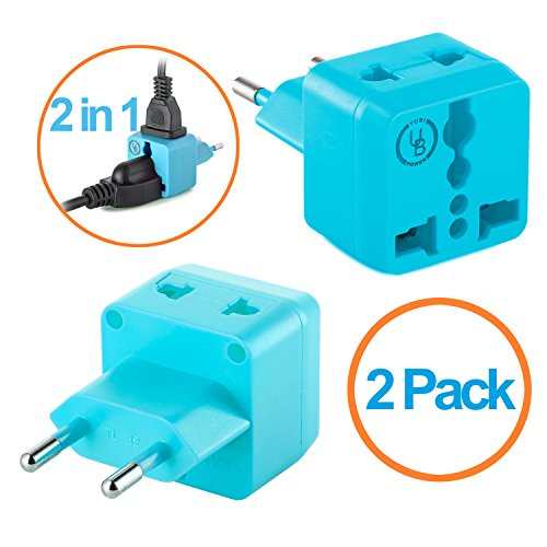 European Plug Adapter by Yubi Power 2 in 1 Universal Travel Adapter with 2 Universal Outlets - 2 Pack - Light blue - Type C for Europe, France, Germany, Russia, - Outlet Lebanon