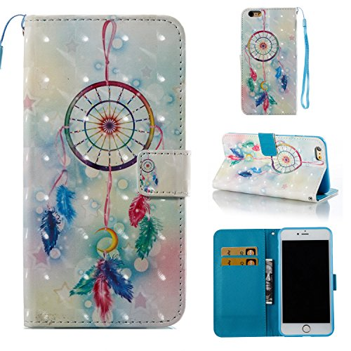Price comparison product image iPhone 6S Case,  iPhone 6 Case,  ARSUE Magnetic Premium Slim Fit PU Leather Kickstand Wallet Flip Protective Case Cover with Card Slot for Apple iPhone 6 6s (4.7 Inch)(Dream Catcher Mandala)