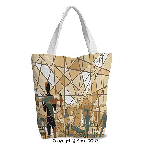 Canvas Shoulder Bags for Women girls student Mosaic Design of People Exercising
