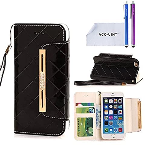 ACO-UINT iPhone SE 5s Wallet Case,iPhone SE 5s 5 Case,Deluxe Grid Wallet Leather Case,Folio Flip Bling Diamond Cover Strap Case for iPhone 5s 5 SE (Flip Cover Iphone 5 Bling)