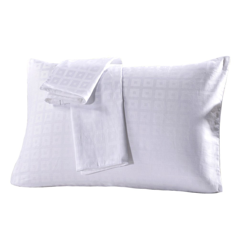 MELEARN 100% Cotton Pillowcases,Set of 2,Zippered Pillow Protectors,Luxury Hotel Quality (Queen, White Checked)