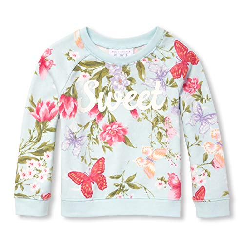 The Children's Place Baby Girls Long Sleeve Floral Printed Sweater, Summer House, 12-18MOS - Girls 12 Months Sweater
