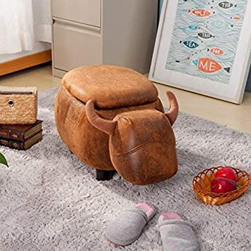 Merax WF036883DAA Have- Fun Series Upholstered Ride-on Storage Ottoman Footrest Stool with Vivid Adorable Animal Shape Brown Buffalo