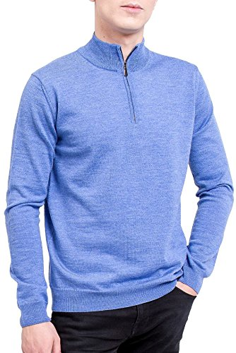 (KNITTONS Men's 100% Italian Merino Wool Quarter Zip Pullover Long Sleeve Knit Sweater (X-Large, Sky Blue))