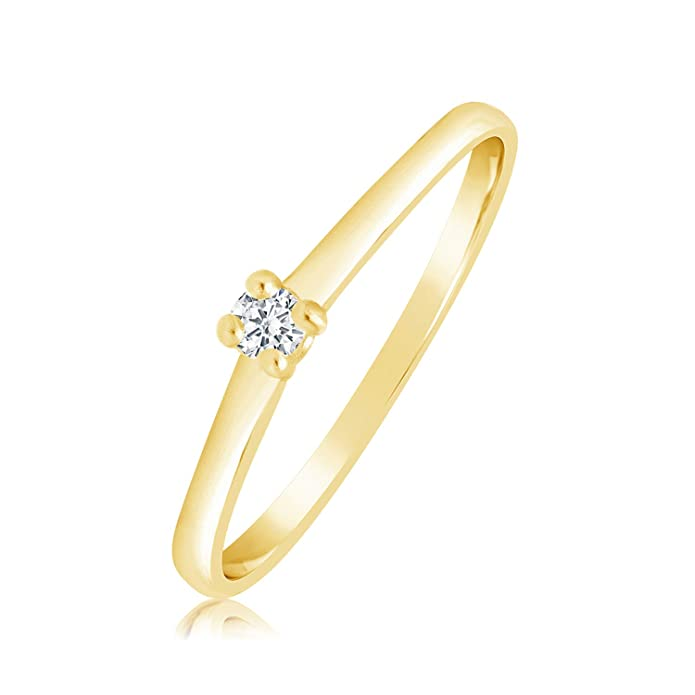 AAnillo Mujer Compromiso Oro y Diamantes - Oro Amarillo 9 Quilates 375 ♥ Diamantes 0.04 Quilateshttps://amzn.to/2M9xbls