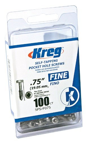 Kreg SPS-F075-100 0.75-Inch No.6 Fine Thread Pan Head Pocket Screws, (Head Pocket Hole Screws)