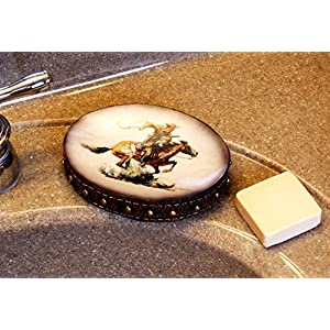 Rockin W Brand Winchester Horse and Rider Soap Dish