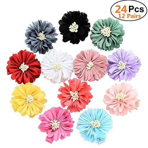 """Sufermee 24 Pcs 2"""" Baby Girls Alligator Hair Clips Chiffon Flower Hair Barrettes Hair Accessories for Toddlers Girls Teens Kids from Sufermee"""