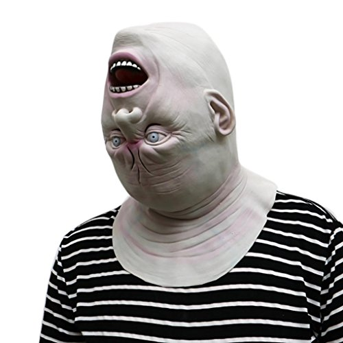 Franterd Halloween Down Full Head Mask, Halloween Scary Latex Adult Costume Face Party -