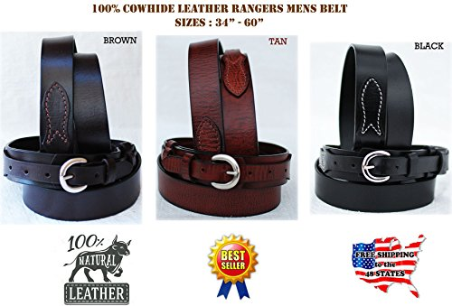 PRORIDER 30-60 Western Ranger Belt Tooled Leather Tan 26Ranger09