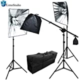 LimoStudio 1800 Watt Photo Studio Photography and Digital Video Continuous Lighting Kit with Carrying Case - 3 Light Stands, 3 Softboxes, 3 Light Heads, 9 Photo Bulbs, AGG1175