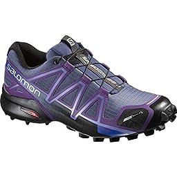 Salomon Women\'s Speedcross 4 CS W Trail Runner, Slate Blue/Cosmic Purple/Black, 9.5 B US