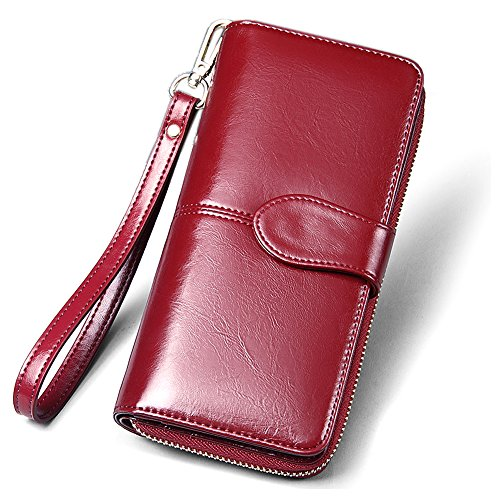 Dlames Women's Genuine Leather RFID Blocking Wallets Large Capacity Clutch Purses (7.5 inch - Fits iphone 6s plus, Wine Red)