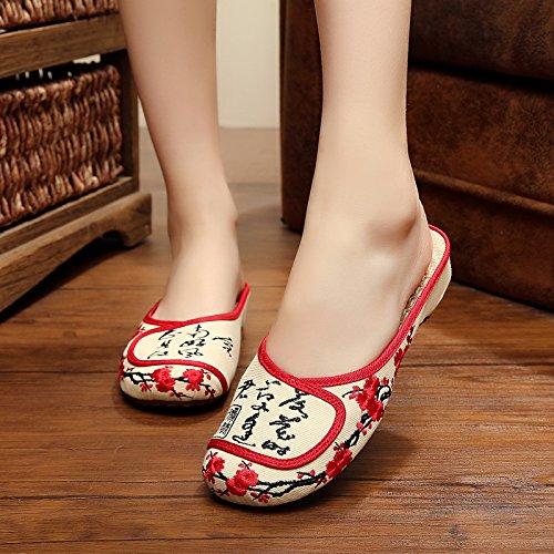 white Casual Zapatos Plum Bordadas blossom Sandalias Zapatillas De Zapatillas Negro Fashion Mujer Sexy Diapositiva Mujer amp;G NGRDX zaCq44