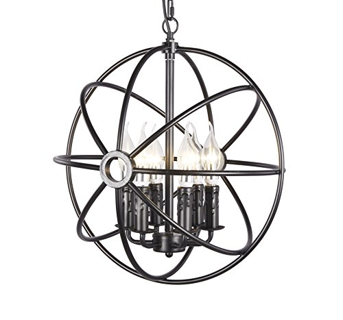 Broadway Industrial Vintage Metal Spherical slope chandeliers Pendant Displays Changeable Hanging Lighting Fixture BL-ADA/D-L4 W16 X H16 - Fixture Ada
