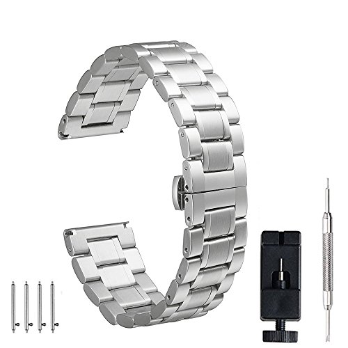 24mm 22mm 20mm 18mm Watch Band, PluWatch Quick Release Premium Solid Stainless Steel Metal Business Replacement Bracelet Strap for Men's Women's (Gents Steel Bracelet Watch)