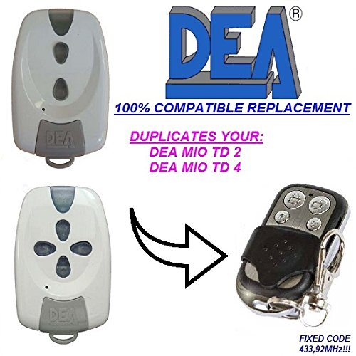 433,92/mhz DEA MIO TD 2 para c/ódigos fijos clone. Mio TD 4/Compatible Clone Control remoto transmisor de reemplazo