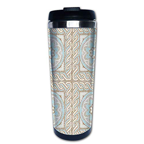 Stainless Steel Insulated Coffee Travel Mug,Floral Elements Twists and Colorful Circular,Spill Proof Flip Lid Insulated Coffee cup Keeps Hot or Cold 13.6oz(400 ml) Customizable printing
