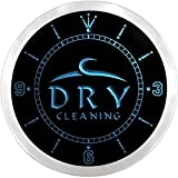 nc0672-b OPEN Dry Cleaning Laundromat Shop Neon Sign LED Wall Clock