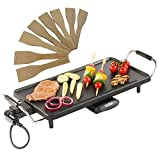 (US) VonShef 220 240 Volts Electric Large Teppanyaki Style BBQ Barbecue Table Grill Griddle with 8 Spatulas 2000 Watts | Bundled With 220v 240v Dynastar Plug Adapters | 220v 240v (NOT FOR USA)