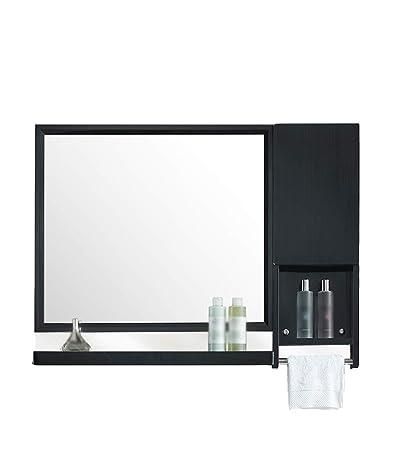Amazon Com Stainless Steel Bathroom Mirror Black Wall Mounted