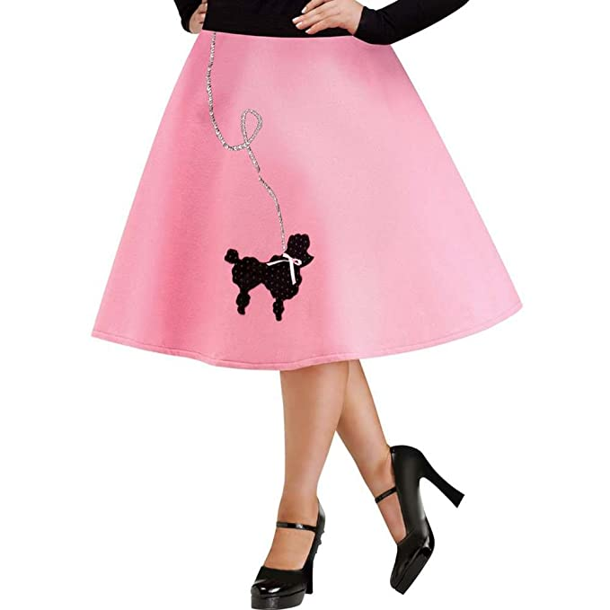 8d39bc53f6645 Amazon.com: FunWorld Plus-Size Poodle Skirt, Pink/Black, 16W-24W Costume:  Clothing