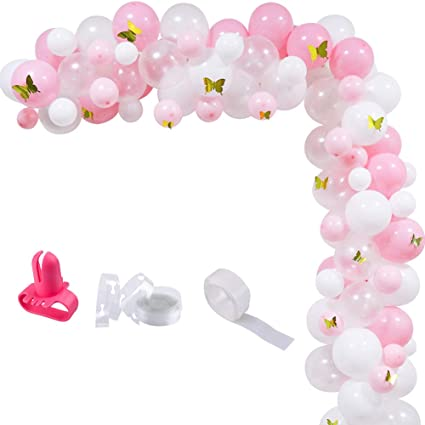 """Number 1 1st Birthday Girl  Butterflies 28"""" Balloon Birthday Party Decorations"""