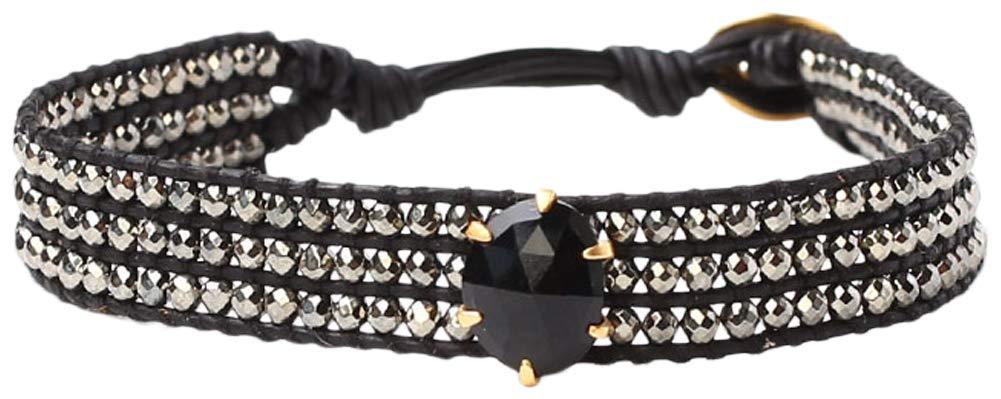 Chan Luu Onyx Pyrite Stone Mix Single Wrap Black Leather Bracelet