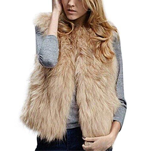 Kimloog Women Winter Warm Sleeveless Short Faux Fur Vests Casual Jacket Coat Outerwear (L, Khaki) by Kimloog