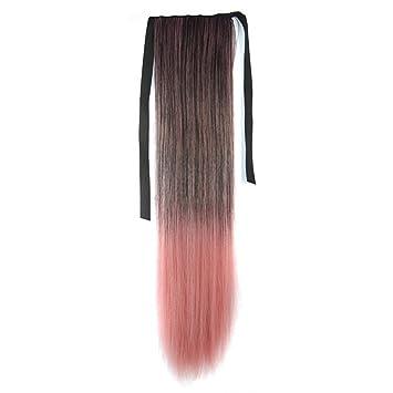 Peluca de Colores de Cola de Caballo Recto de Color Gradiente Negro Gradiente de Smog Pink