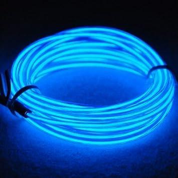 Tira de Luces 9ft LED Neon de colores,Mangueras Flexibles YiYunTE Iluminación de Tira con Controlador Box,2 AA Pilas Funcionado(azul): Amazon.es: ...